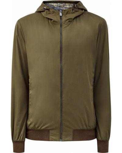 Нейлоновая куртка с капюшоном на молнии свободного кроя хаки Cudgi