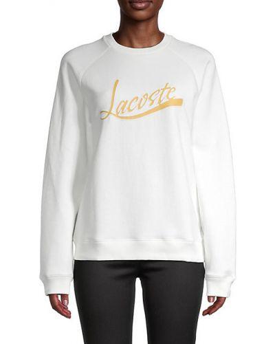 Хлопковый белый свитшот с длинными рукавами Lacoste