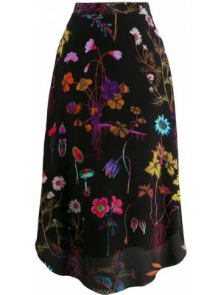 Черная асимметричная юбка миди с вышивкой в рубчик Stella Mccartney