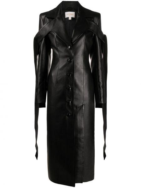 Черное кожаное пальто с капюшоном Matériel