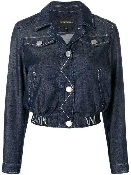 Синяя джинсовая куртка с манжетами на пуговицах с карманами Emporio Armani