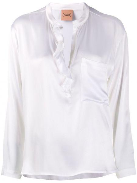 Шелковая с рукавами белая рубашка Nude