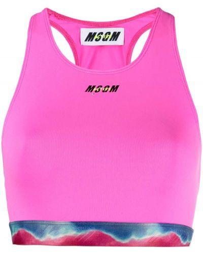 Розовый спортивный бюстгальтер с вырезом эластичный Msgm