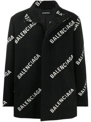 Czarny płaszcz wełniany z długimi rękawami Balenciaga