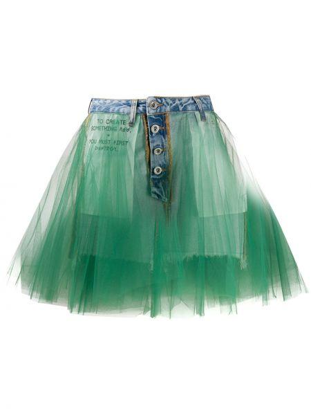 Расклешенная классическая юбка мини из фатина с карманами Unravel Project
