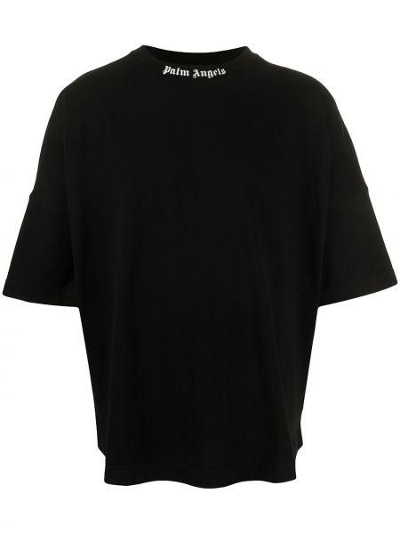 С рукавами хлопковая черная футболка с круглым вырезом Palm Angels