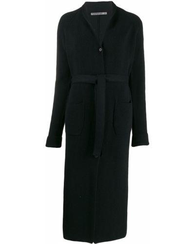 Шерстяное черное пальто классическое с воротником Transit