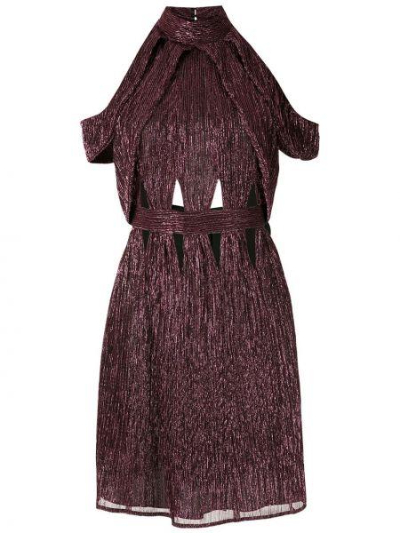 Фиолетовое приталенное платье мини с открытой спиной на молнии Reinaldo Lourenço
