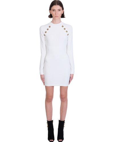 Złota biała sukienka midi elegancka Balmain