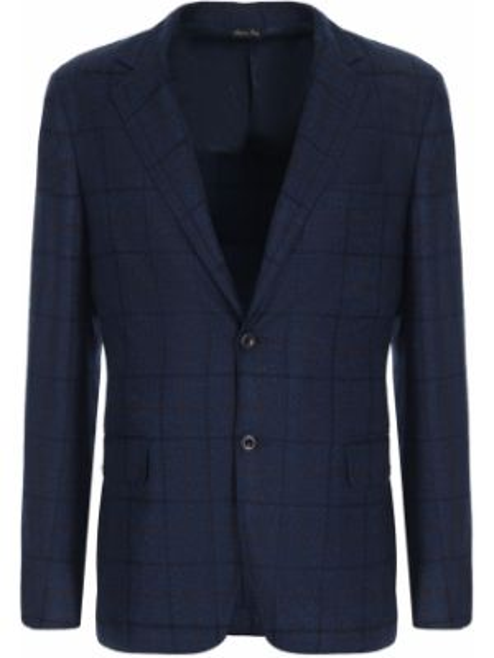 Темно-синий классический пиджак с лацканами с воротником с карманами Castangia