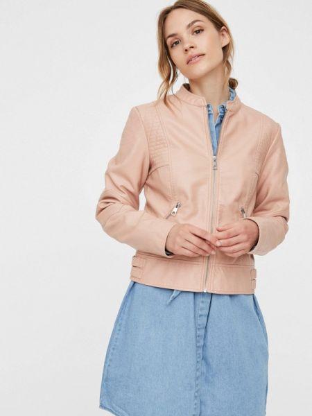Розовая кожаная куртка Vero Moda