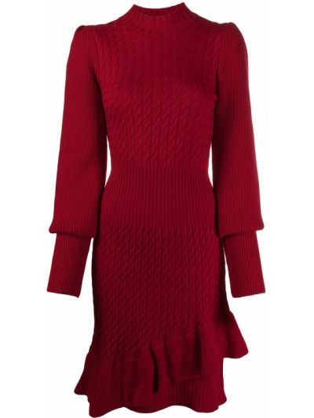 Шерстяное красное платье макси со вставками с воротником Temperley London