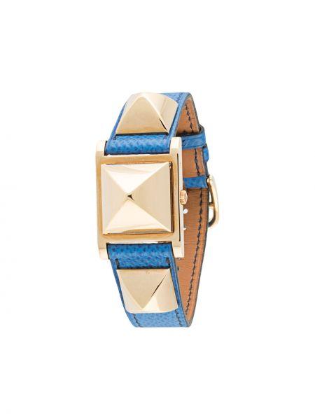 Со стрелками кожаные золотистые часы Hermes