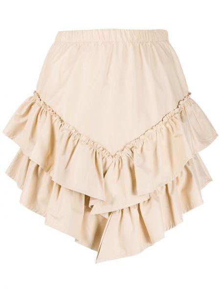 Brązowa spódnica mini z wysokim stanem asymetryczna So Allure