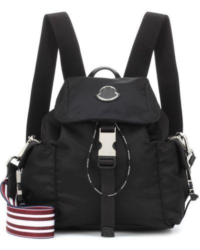 Skórzany plecak włókienniczy czarny Moncler