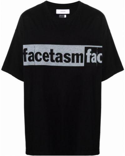 Czarny t-shirt bawełniany z printem Facetasm