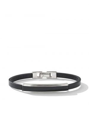 Кожаный браслет - черный David Yurman