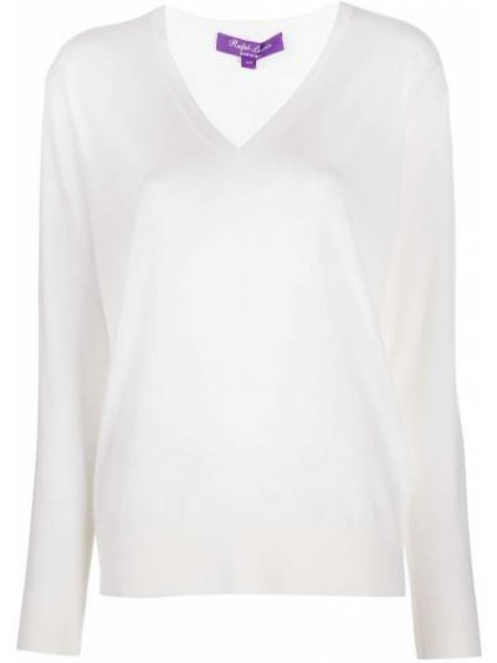 С рукавами белый шерстяной свитер с V-образным вырезом Ralph Lauren