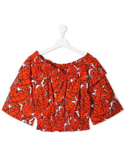 Блуза красная расклешенный Msgm Kids