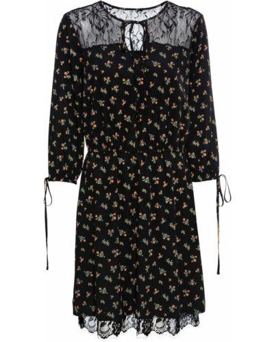 Кружевное черное платье с завязками Bonprix