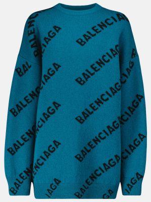 Sweter wełniany - niebieski Balenciaga