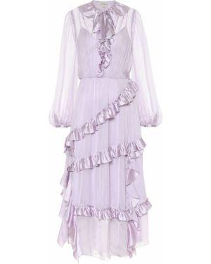 Фиолетовое шелковое вечернее платье с жемчугом на кнопках Temperley London
