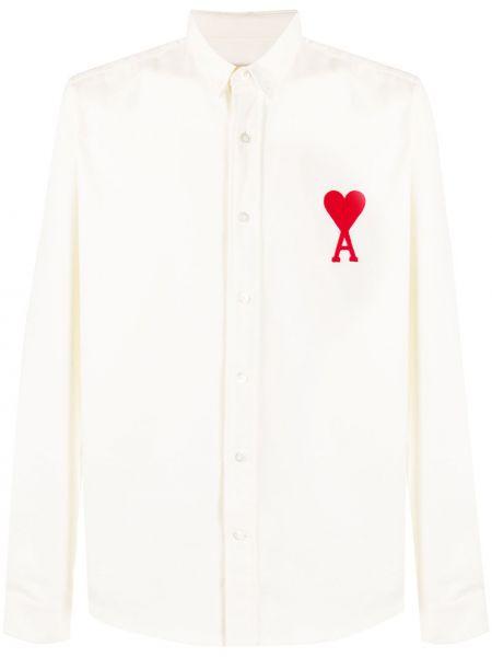Koszula bawełniana z haftem z długimi rękawami Ami