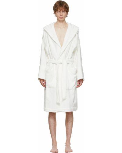 Biały długi szlafrok z kapturem bawełniany Tekla