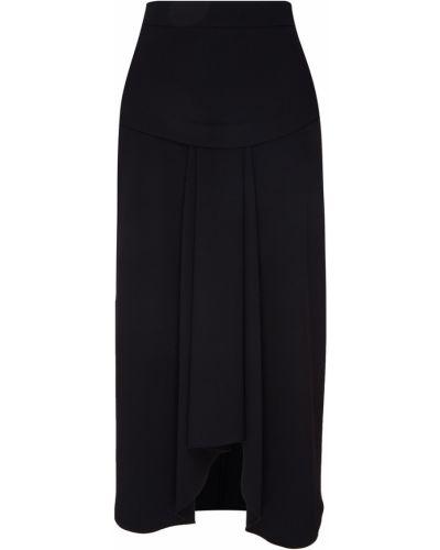 С завышенной талией черная юбка макси со складками Adolfo Dominguez