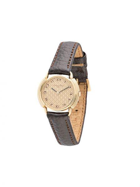 Z paskiem skórzany zegarek na skórzanym pasku złoto okrągły Christian Dior