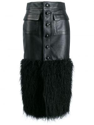 Черная кожаная юбка миди с карманами Saint Laurent