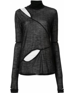 Шерстяной черный свитер в рубчик узкого кроя Taylor