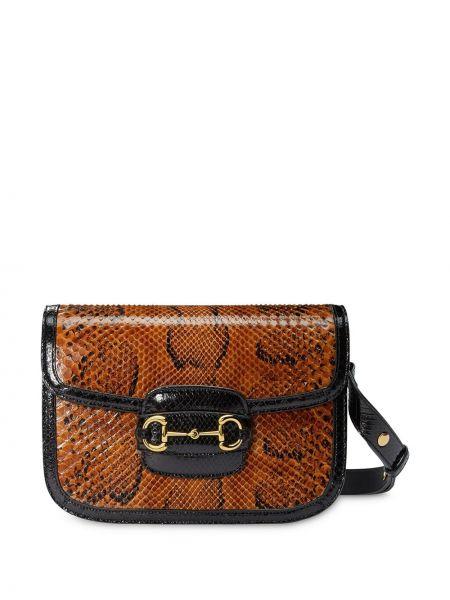 Skórzana torebka skóra pythona rama Gucci