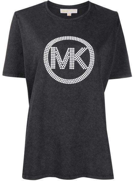 Хлопковая с рукавами черная рубашка Michael Michael Kors