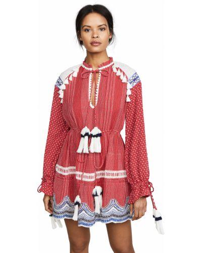 Хлопковое платье макси с длинными рукавами с декольте Hemant And Nandita