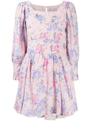 Różowa sukienka z jedwabiu w kwiaty Loveshackfancy