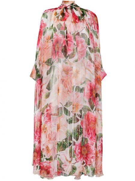 Шелковое белое платье макси с длинными рукавами Dolce & Gabbana