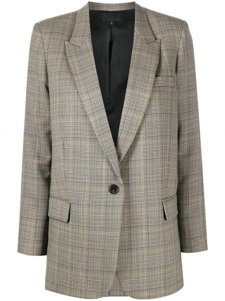Шерстяной коричневый удлиненный пиджак в клетку Nili Lotan