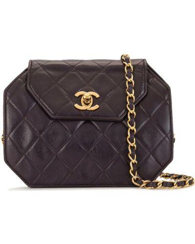 Fioletowa sprzęgło na łańcuchu skórzana pikowana Chanel Pre-owned