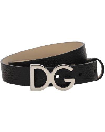 Czarny skórzany pasek z paskiem Dolce And Gabbana