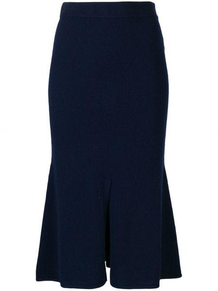 Приталенная расклешенная синяя юбка с поясом Cashmere In Love
