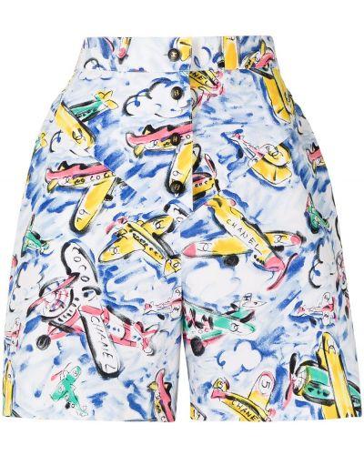 Хлопковые белые шорты с завышенной талией Chanel Pre-owned