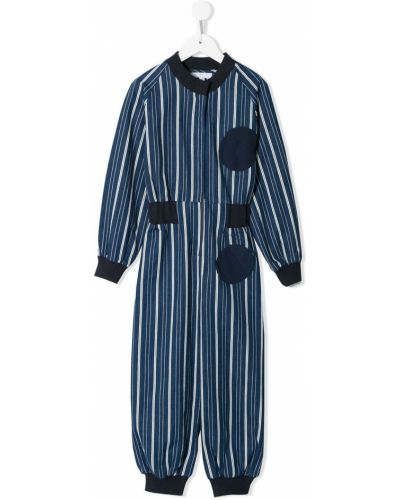 С рукавами хлопковый синий комбинезон с карманами Owa Yurika