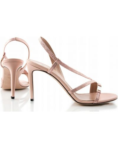 Klasyczne różowe sandały skorzane Hugo Boss