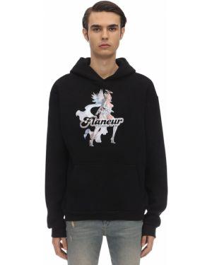 Czarna bluza kangurka z kapturem bawełniana Flaneur Homme