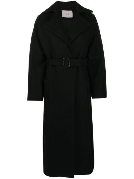 Черное прямое шерстяное пальто с поясом Tela