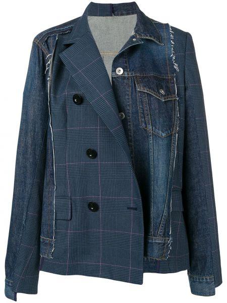 Шерстяной синий удлиненный пиджак двубортный Sacai