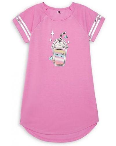 Różowa koszula nocna w paski z raglanowymi rękawami Petit Lem