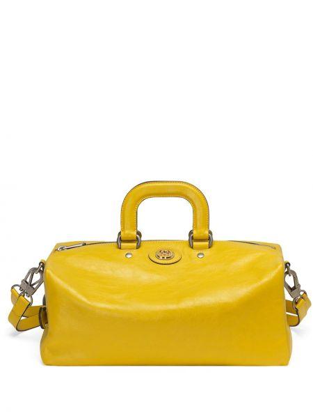 Plecak skórzany vintage - żółty Gucci
