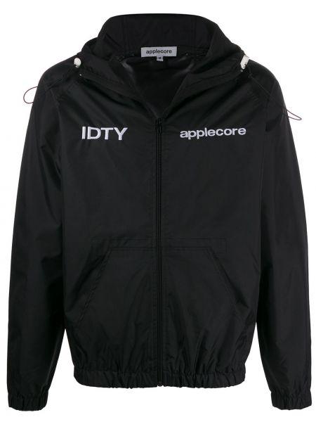 Czarna kurtka z kapturem z haftem Applecore